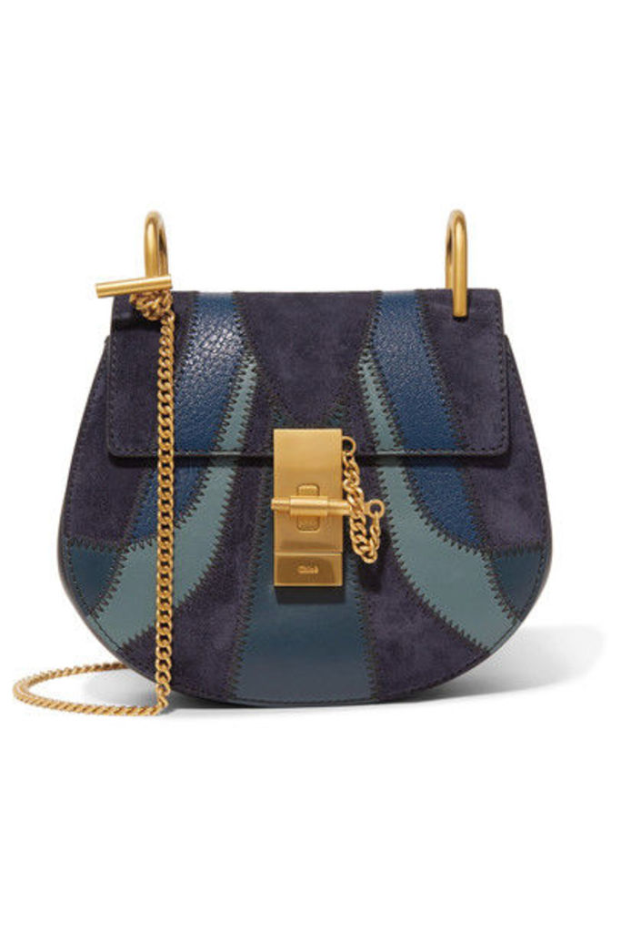Chloé - Drew Mini Patchwork Leather And Suede Shoulder Bag - Blue