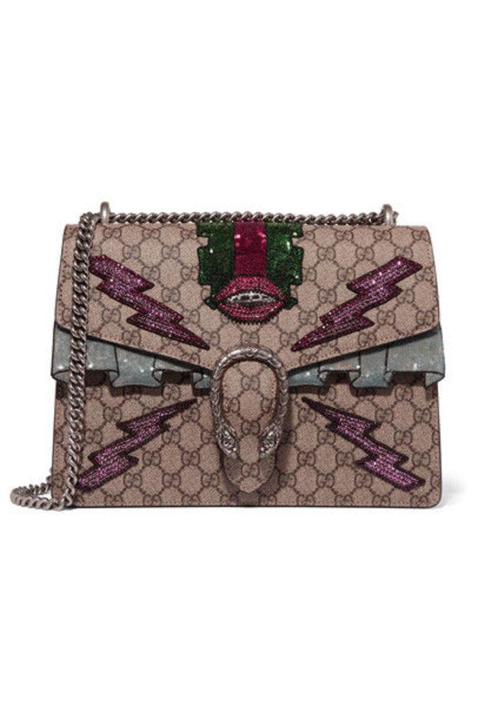 Gucci - Dionysus Medium Appliquéd Coated Canvas Shoulder Bag - Beige