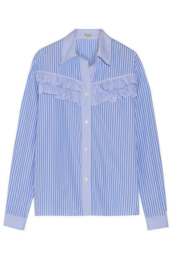 Miu Miu - Ruffle-trimmed Striped Cotton-poplin Shirt - Light blue