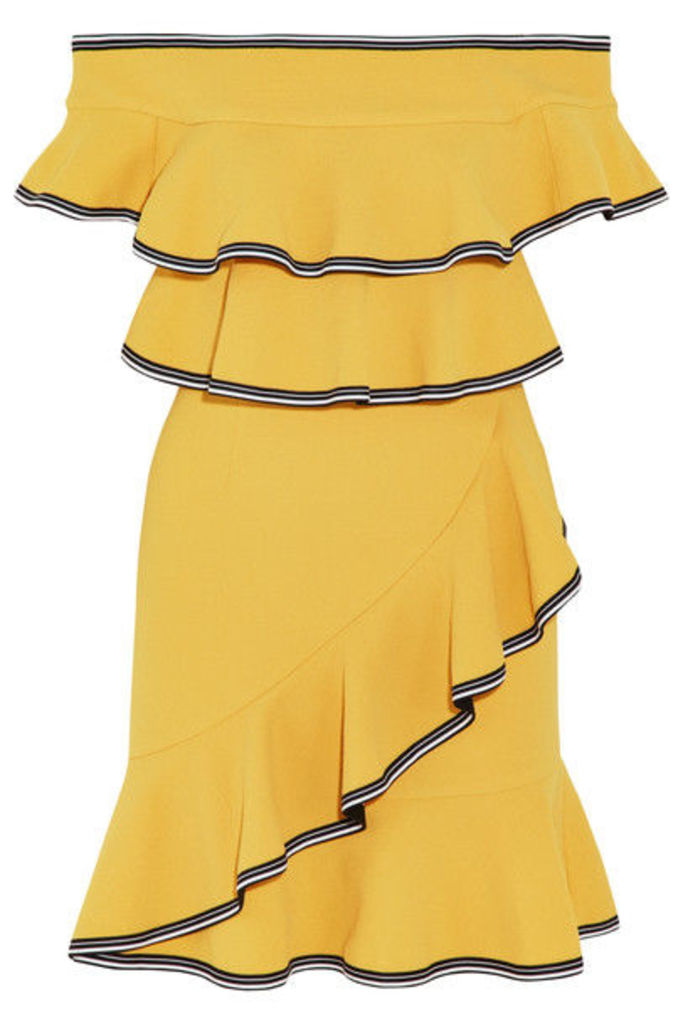Rebecca Vallance - Courtside Off-the-shoulder Ruffled Stretch-cloqué Mini Dress - Yellow