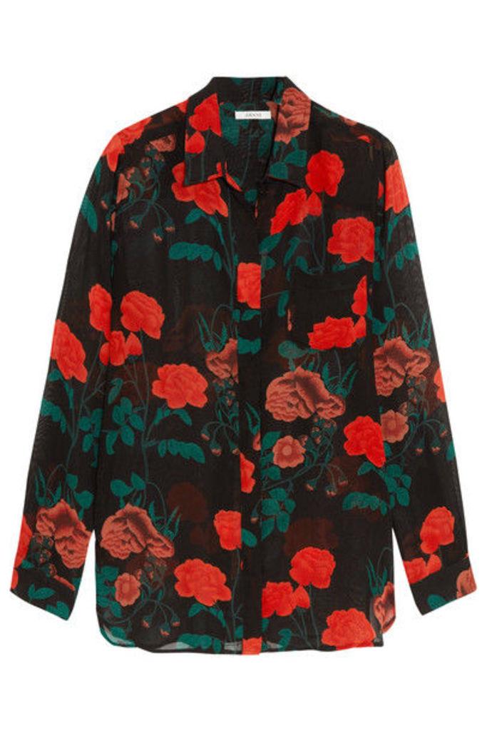 GANNI - Newman Floral-print Georgette Shirt - Black