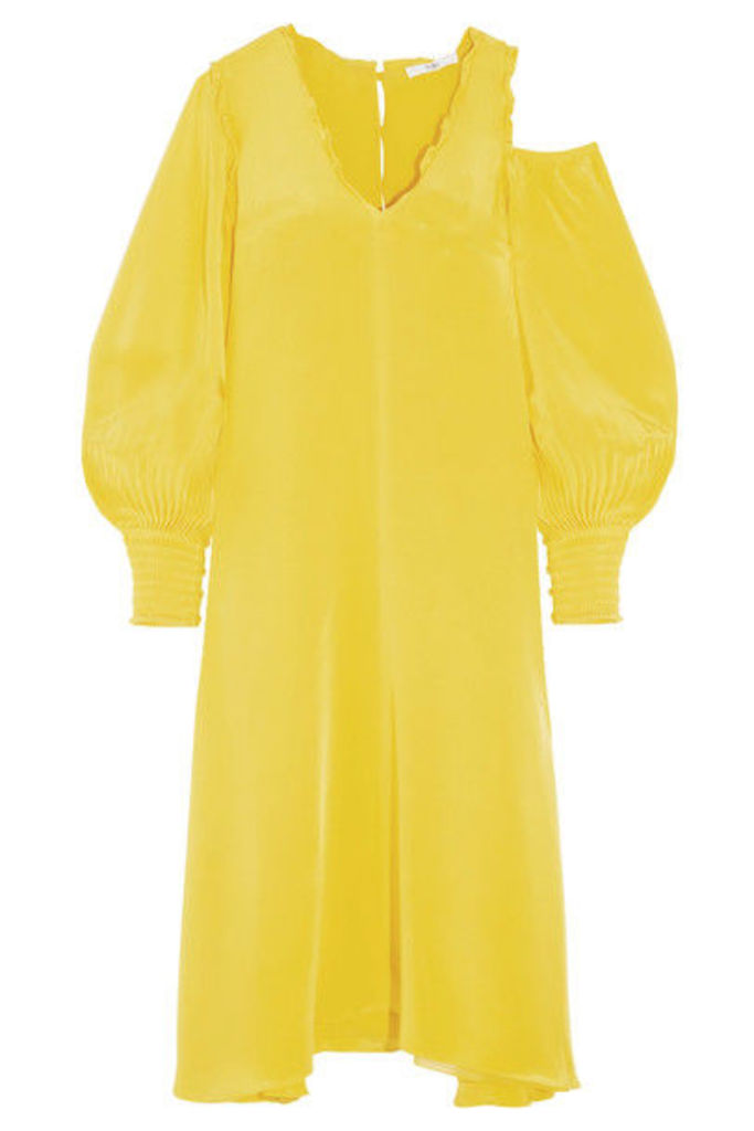 Tibi - Oversized Cutout Silk Crepe De Chine Midi Dress - Bright yellow