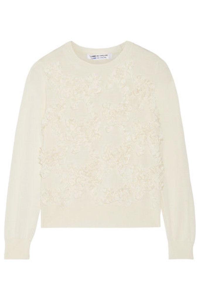 Comme des Garçons Comme des Garçons - Bow-appliquéd Wool Sweater - Off-white
