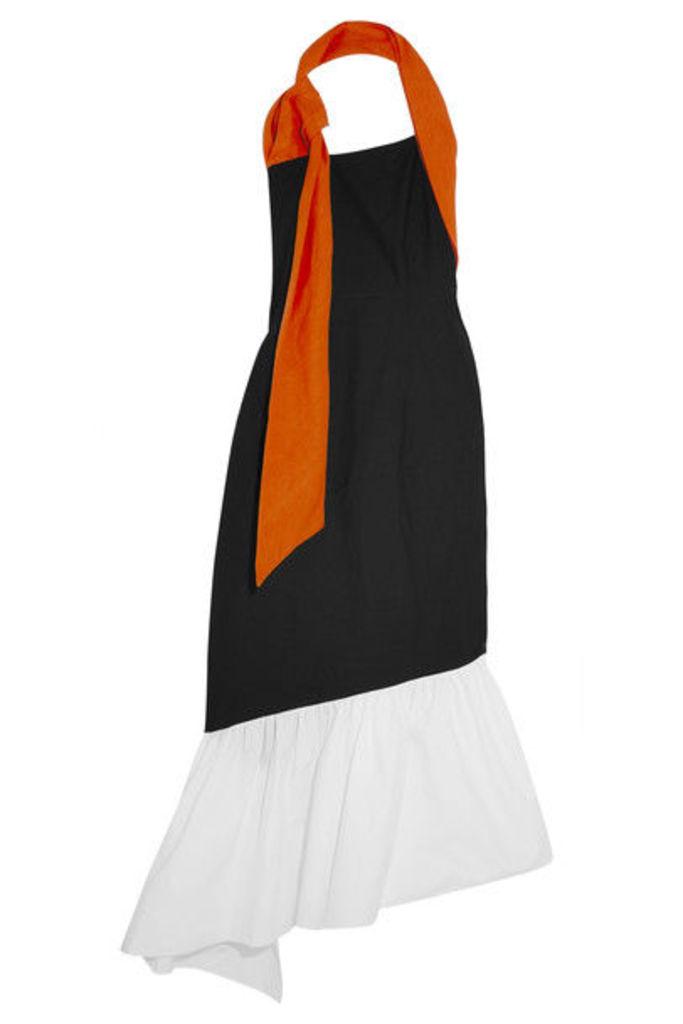 Isa Arfen - Asymmetric Linen-trimmed Color-block Cotton-blend Dress - Black