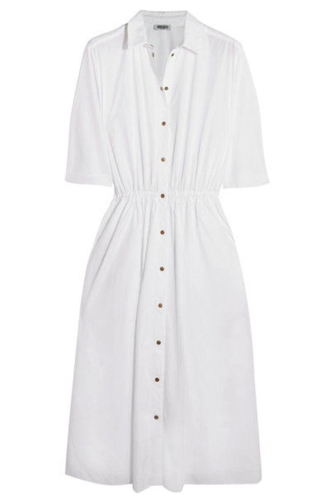 KENZO - Embellished Cotton-poplin Shirt Dress - White
