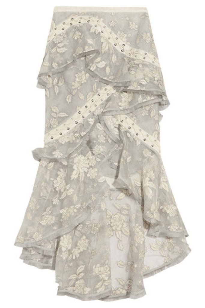 Zimmermann - Lace-up Embroidered Silk-organza Skirt - White