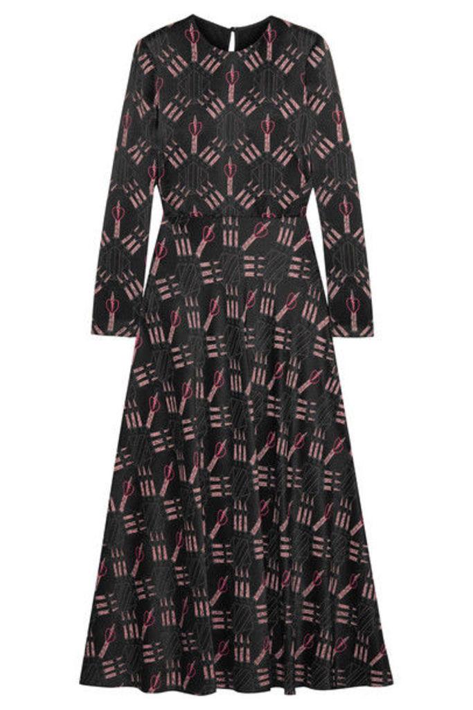 Valentino - Printed Crepe Midi Dress - Black
