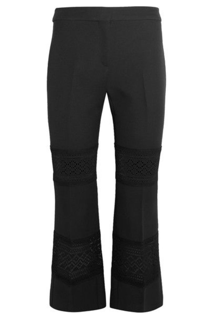Alexander McQueen - Cropped Macramé-paneled Wool And Silk-blend Flared Pants - Black