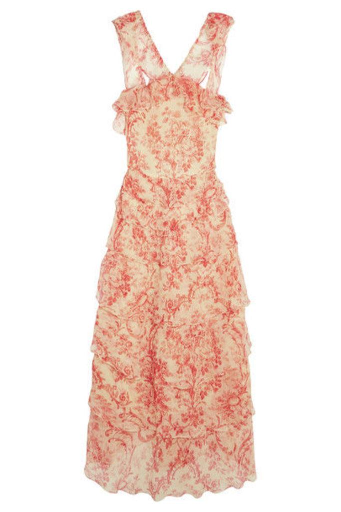 Vilshenko - Giovanna Tiered Crinkled Silk-chiffon Midi Dress - Pink