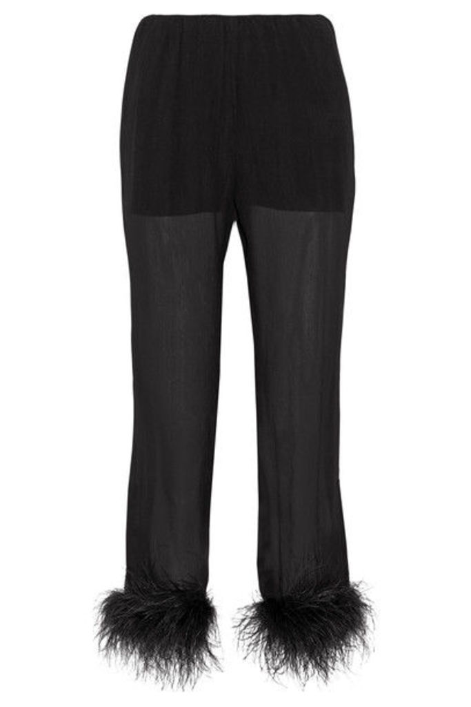Prada - Feather-trimmed Silk-georgette Straight-leg Pants - Black