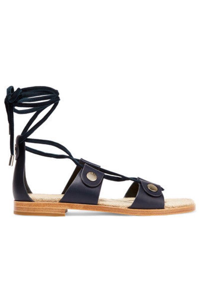 rag & bone - Evelyn Suede-trimmed Leather Sandals - Navy