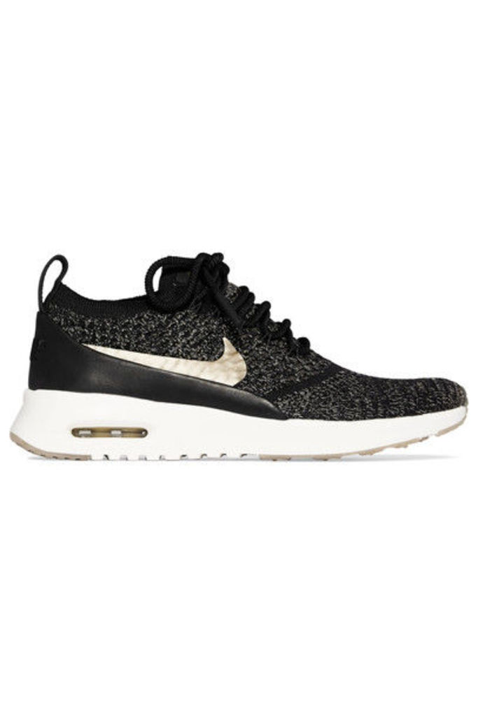 Nike - Air Max Thea Ultra Leather-trimmed Flyknit Sneakers - Black