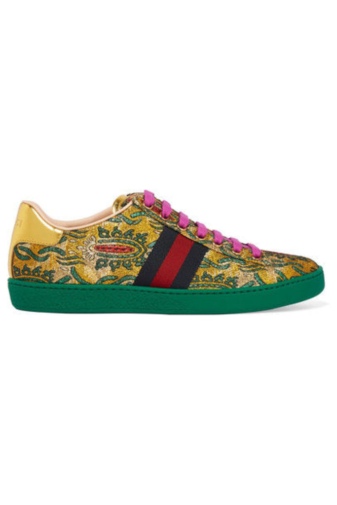 Gucci - Ace Metallic Leather-trimmed Brocade Sneakers - Green