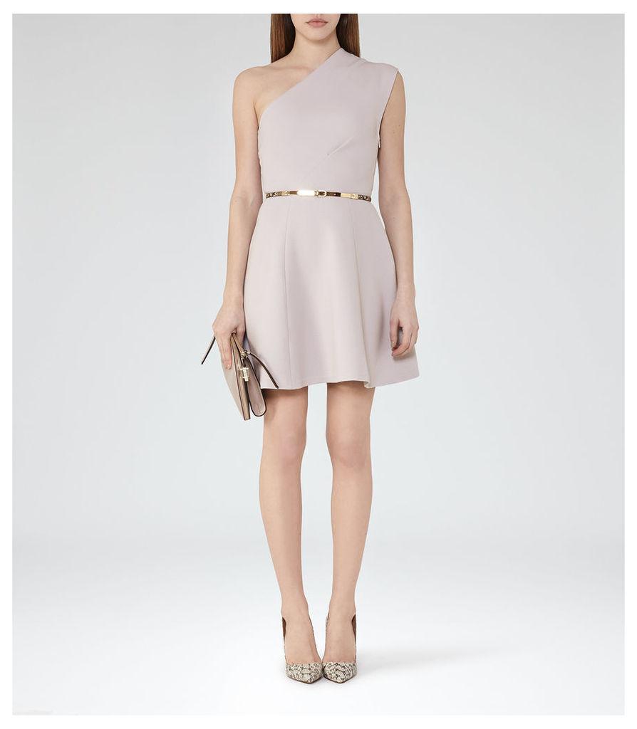REISS Keria - Womens One-shoulder Dress in Grey