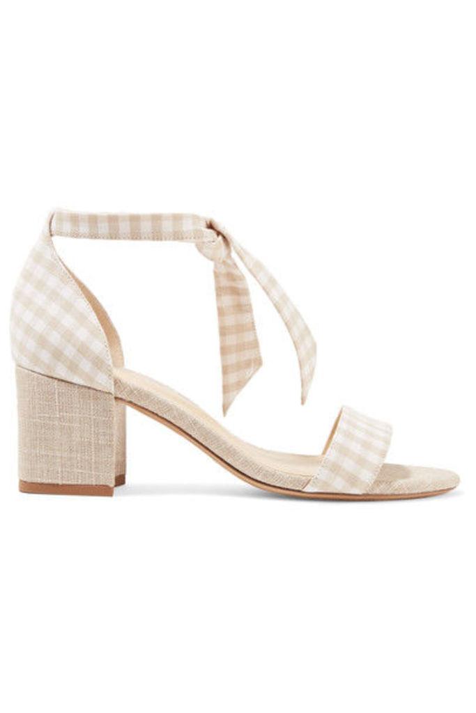 Alexandre Birman - Clarita Bow-embellished Gingham And Canvas Sandals - Beige