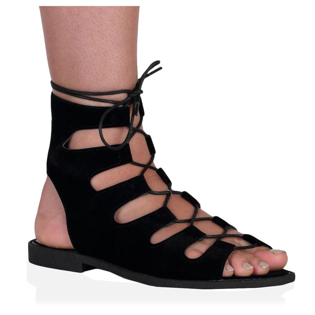 Adaline Sandals  Faux Suede, Black