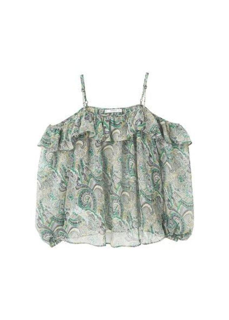 Printed off-shoulder blouse