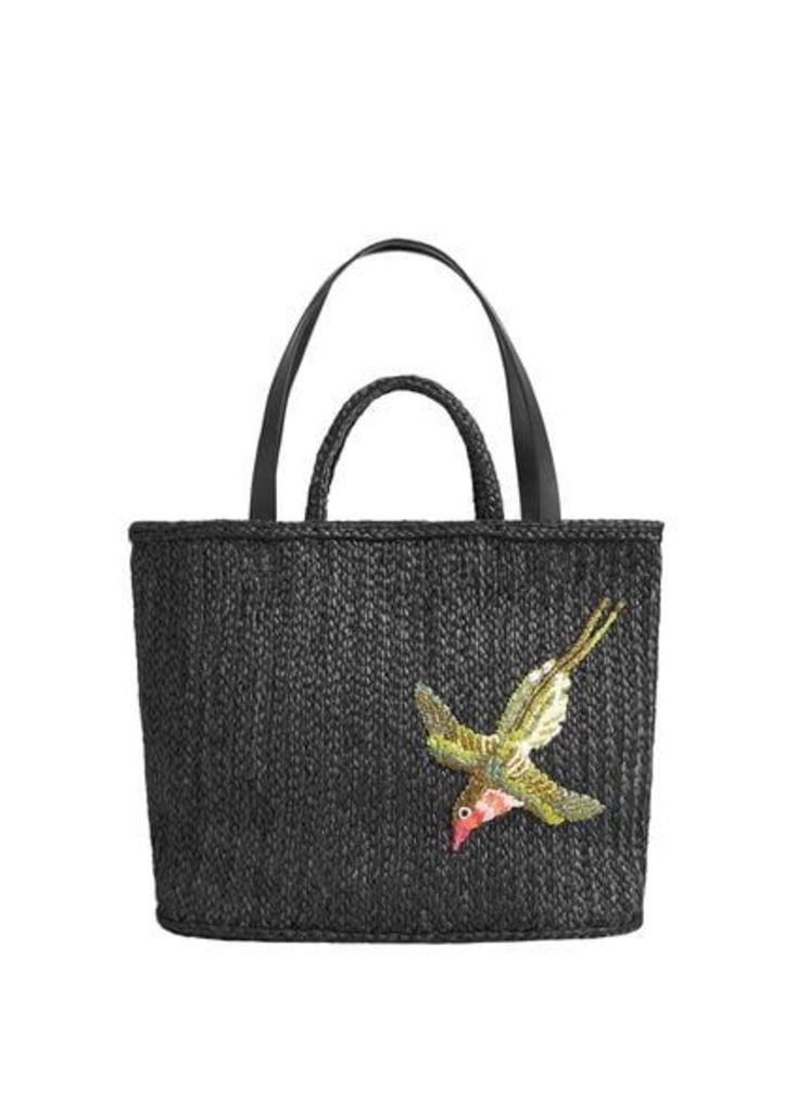 Raffia basket bag