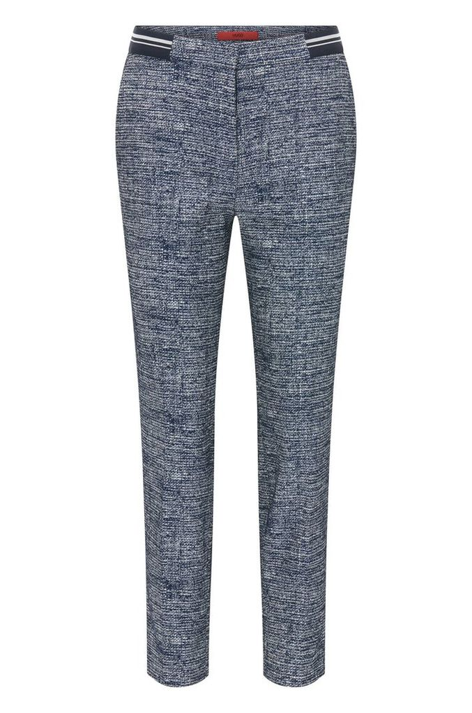 Slim-fit trousers in cotton blend tweed