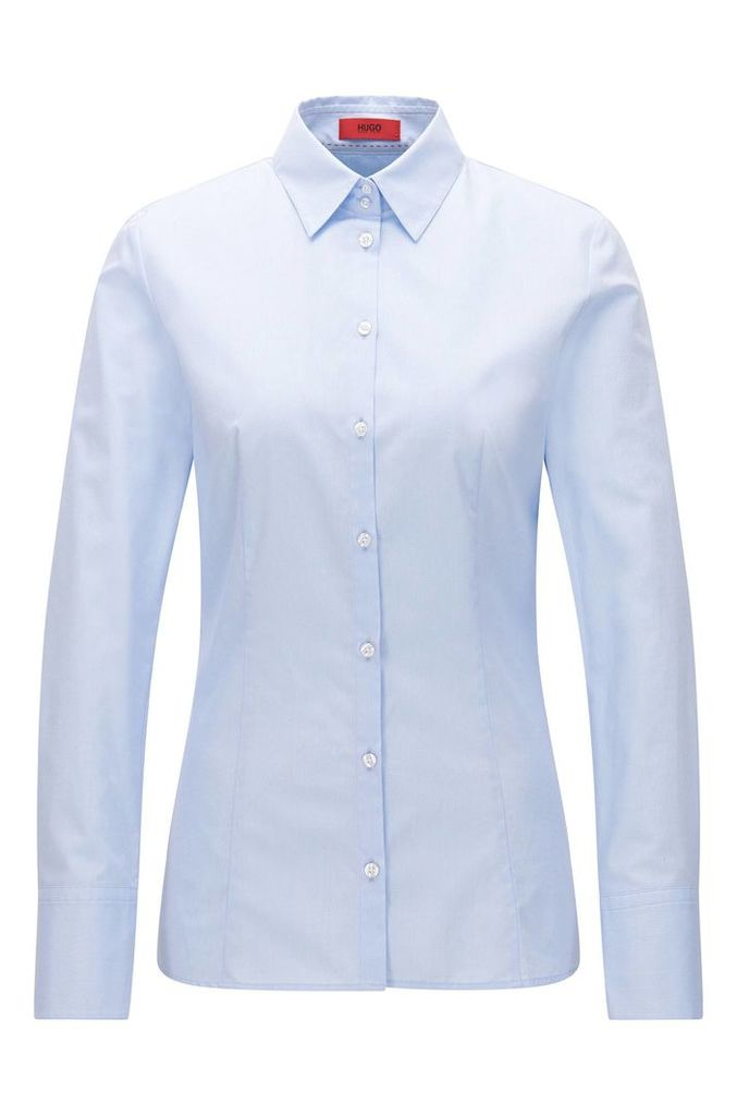 Slim-fit shirt in two-tone dobby cotton