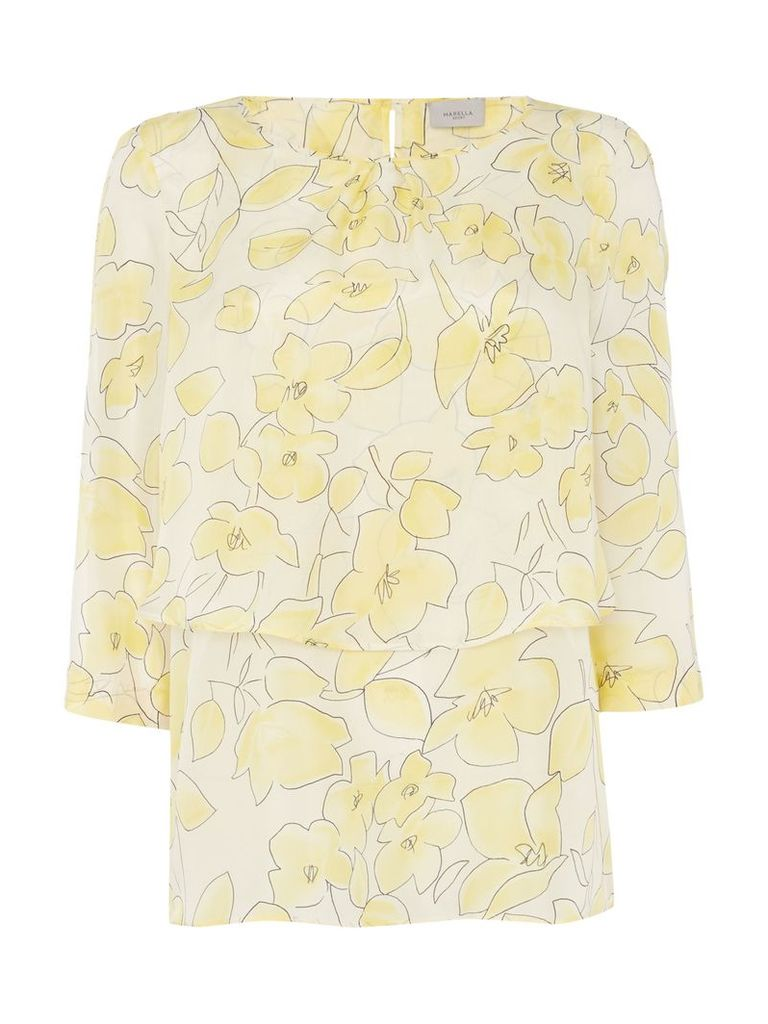 Marella LIMA Longsleeve layered soft floral top, White