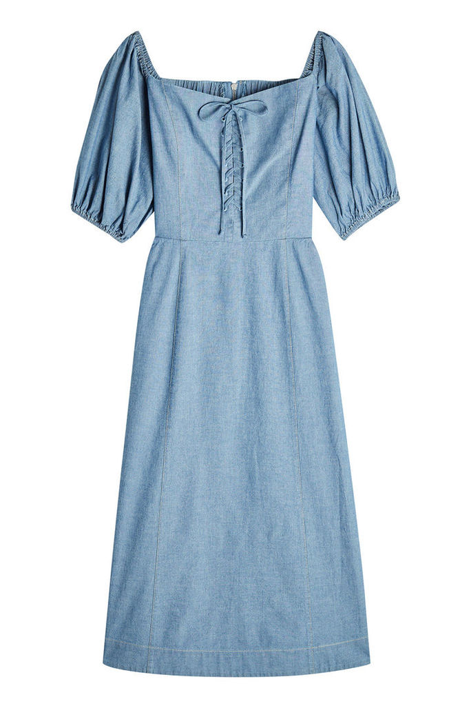 SEA Denim Dress with Lace-Up Detail