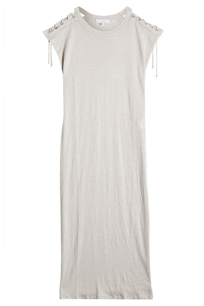 Iro Linen Dress with Lace-Up Detail