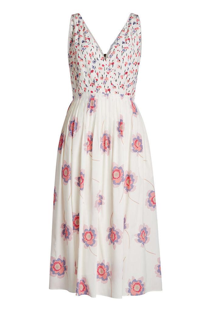 Agnona Printed Silk Midi Dress