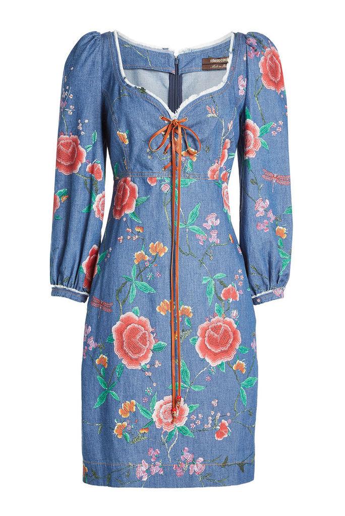 Roberto Cavalli Embroidered Denim Lace-Up Dress