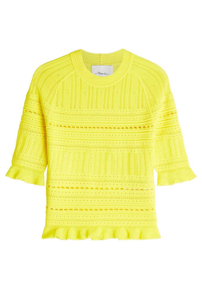 3.1 Phillip Lim Crochet Knit Top with Flutter Trim