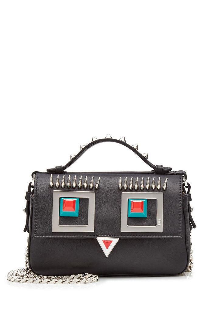 Fendi Double Baguette Embellished Leather Shoulder Bag