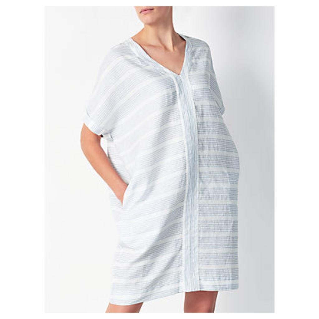 John Lewis Short Sleeve V-Neck Linen Dress, Pale Blue/White