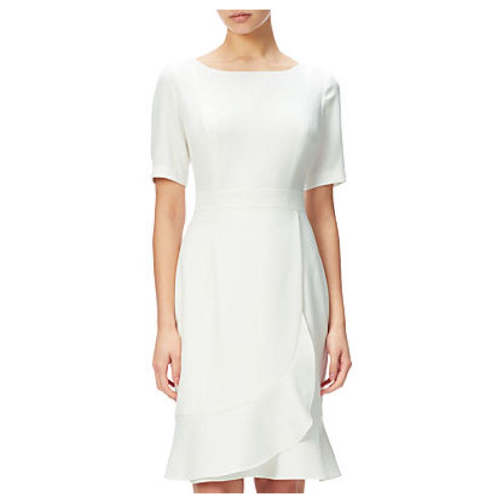 Adrianna Papell Crepe Sheath Dress With Flounce Wrap Detail, Ivory