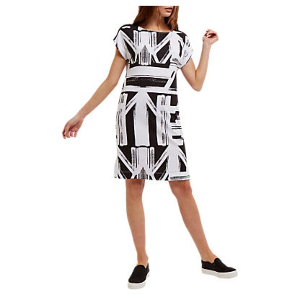 Jaeger Graphic Print Jersey Dress, Black/White