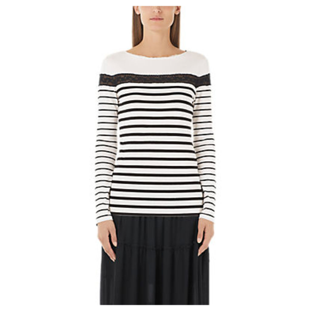 Marc Cain Lace Detail Stripe Jersey Top, Cream/Black