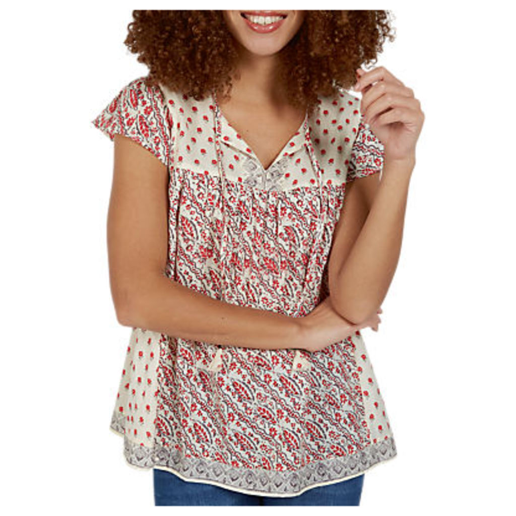 Fat Face Florence Patchwork Blouse, Ivory