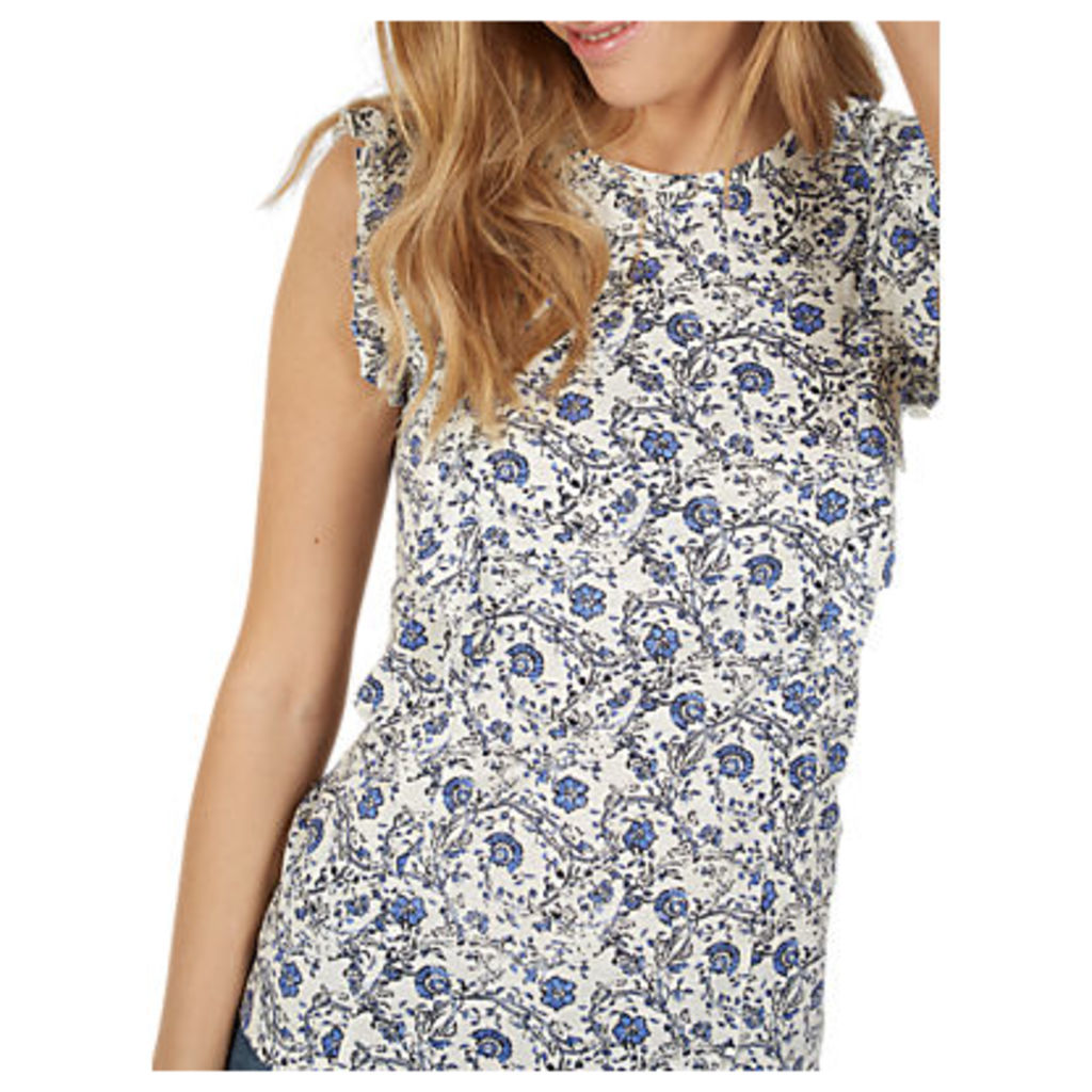 Fat Face Ivy Maisy Trailing Woodblock Floral Print T-Shirt, Ivory