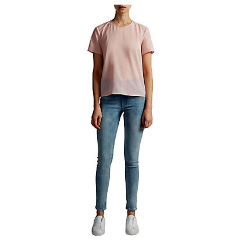 French Connection Classic Crepe Pleat Back T-Shirt, Capri Blush