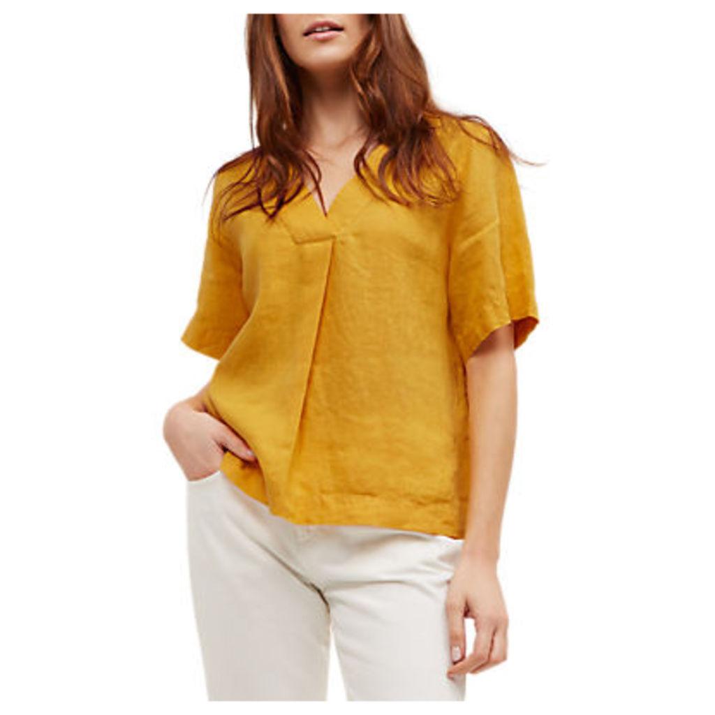 Jaeger Linen Short Sleeve V-Neck Top, Gold