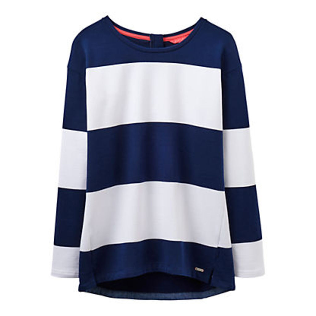 Joules Clemence Wide Stripe Sweatshirt, Navy/White