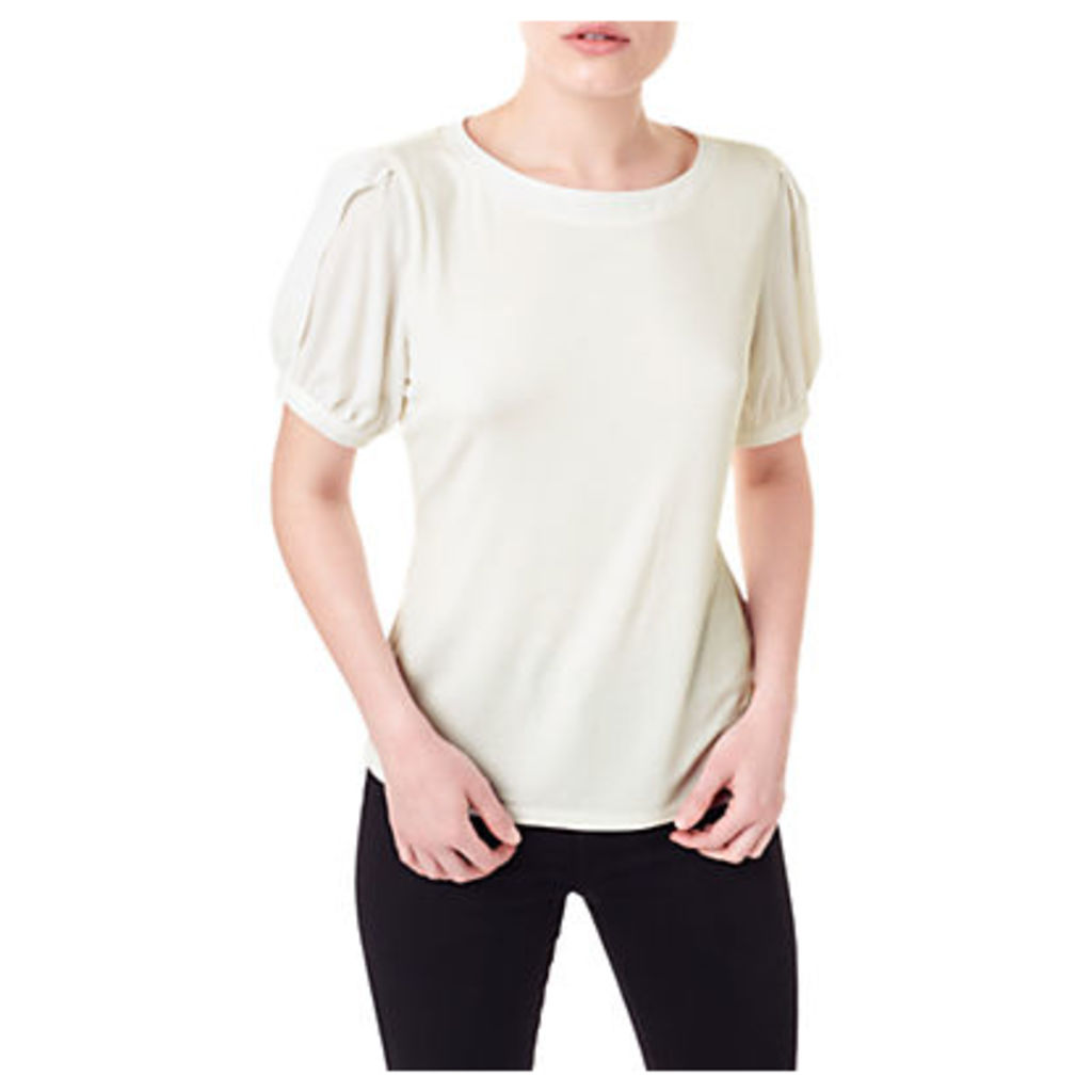 Precis Petite Lace Fluted Sleeve Top, White