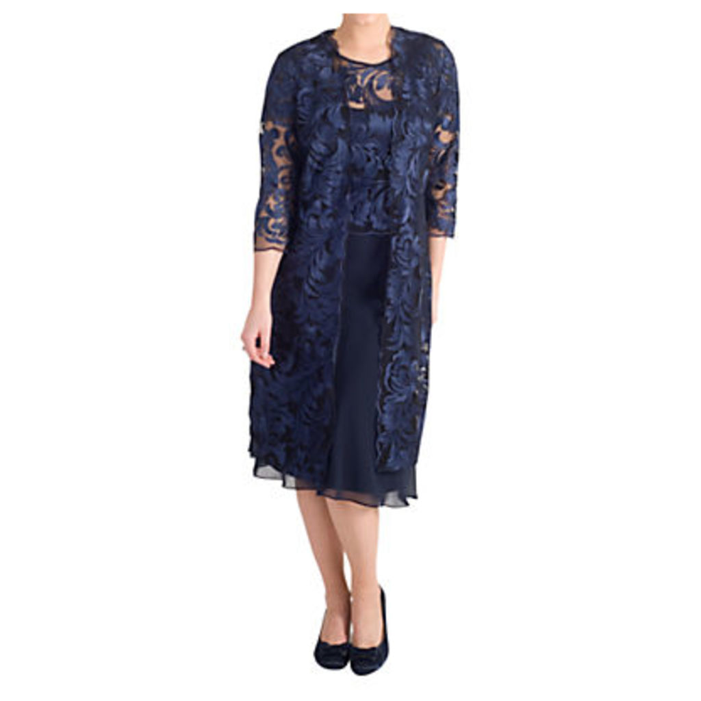 Chesca Scallop Edged Embroidered Mesh Coat, Navy