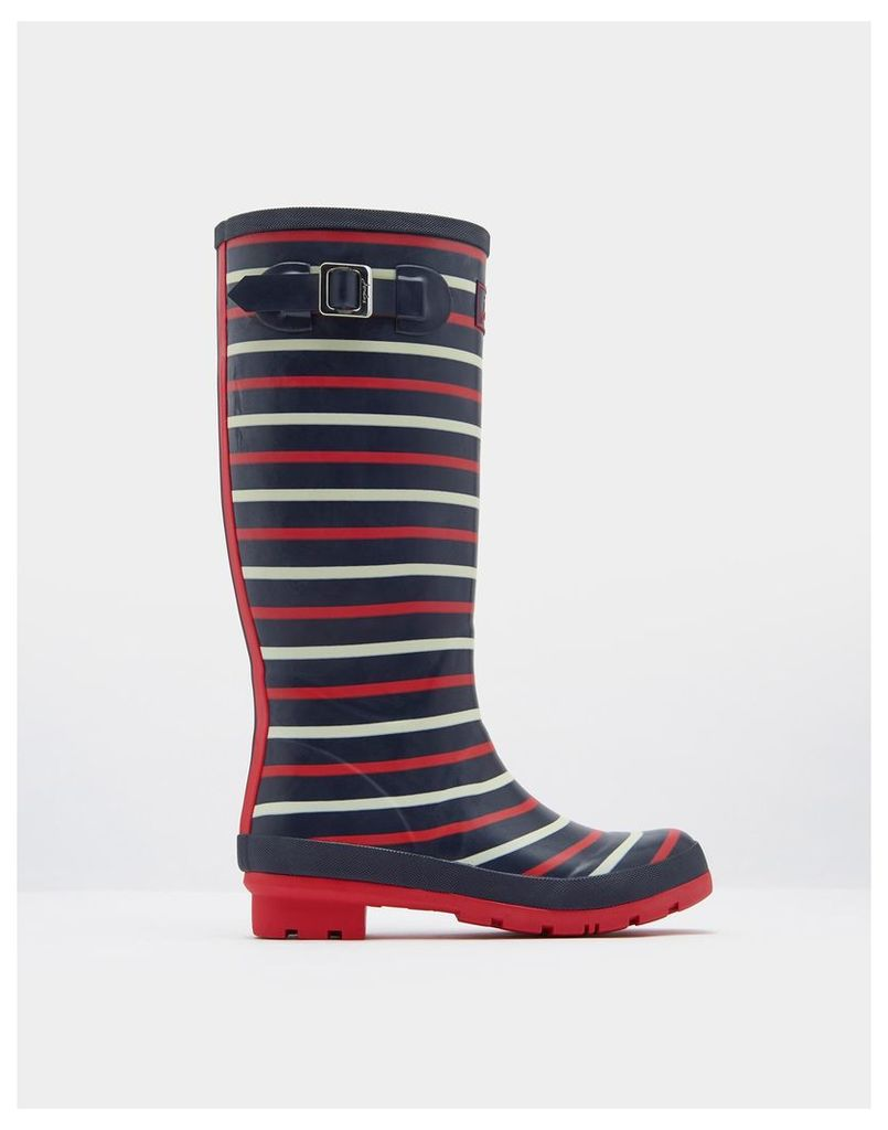 Navy London Stripe Printed Wellies  Size Adult Size 6 | Joules UK