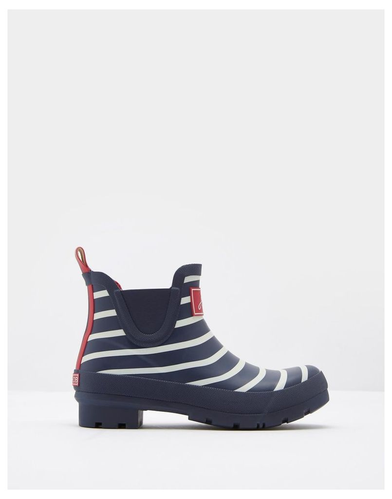 French Navy Stripe Wellibob Ankle Wellies  Size Adult Size 5 | Joules UK