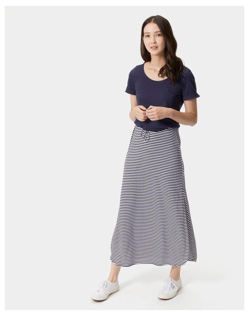 French Navy Ola Stripe Cianne Side Split Maxi Skirt  Size 20 | Joules UK