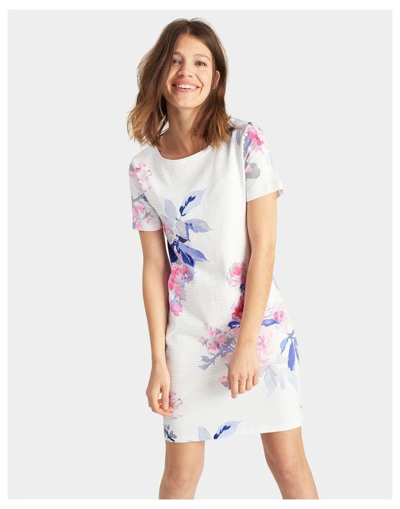 White Beau Stripe Riviera Printed Jersey T-Shirt Dress  Size 6 | Joules UK