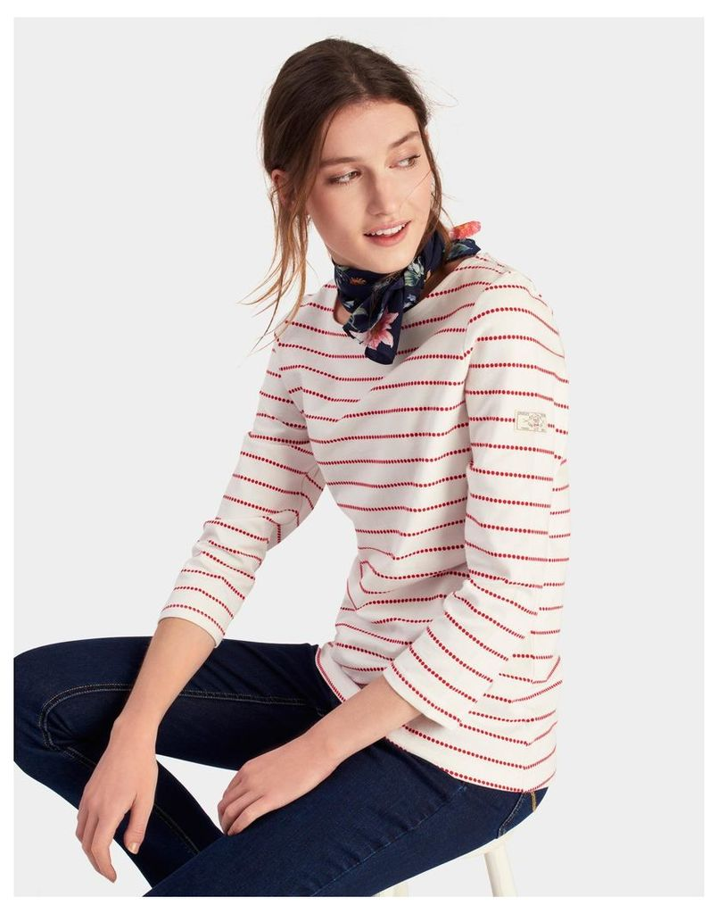 Red Cream Spot Harbour Jersey Top  Size 6 | Joules UK