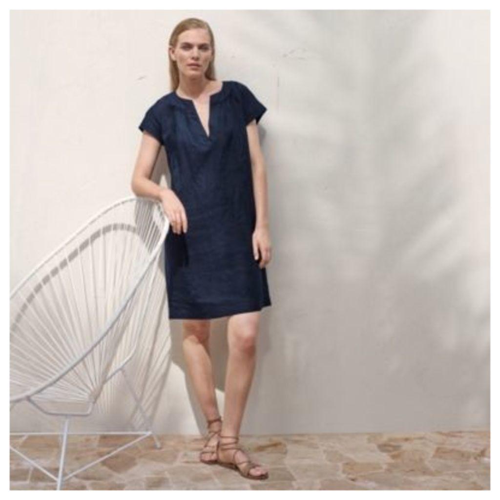 Linen Notch Neck Dress