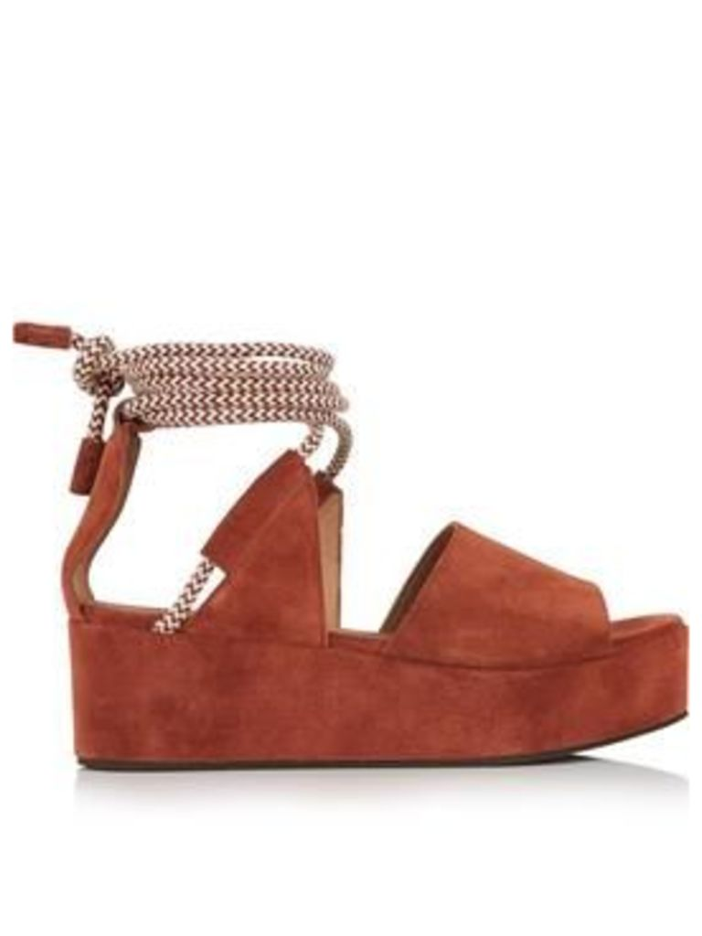 Whistles Molino Rope Suede Wedged Sandals - Rust