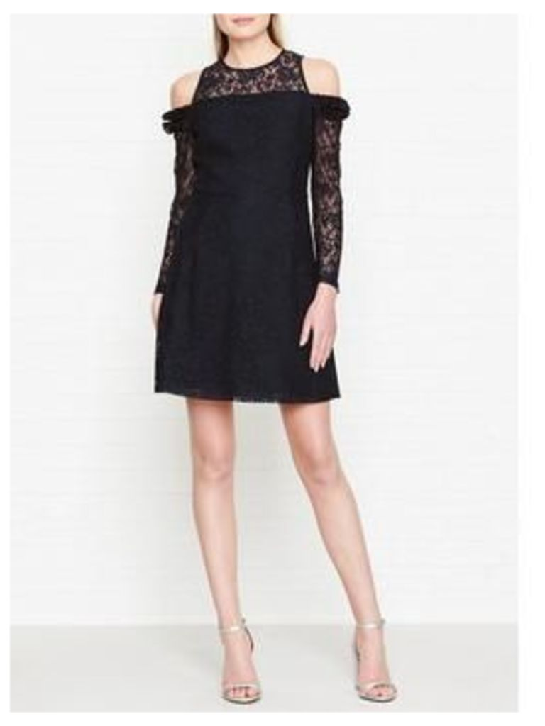 Whistles Elis Cold Shoulder Lace Dress - Navy